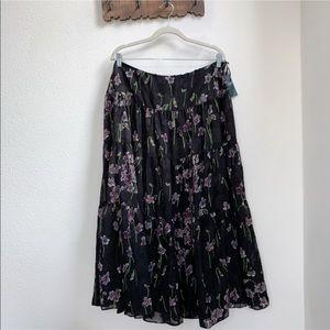 LRL   Floral Tiered Midi Ruffle Skirt